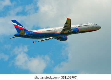 Borispol, Ukraine - May 28, 2012.Aeroflot Airbus A321 takes off at the Boryspil airport in good weather.