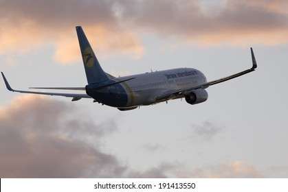 Borispol, Ukraine - May 6, 2014: Ukraine International Airlines Boeing 737-800 aircraft departing from the Borispol International Airport on May 6, 2014.