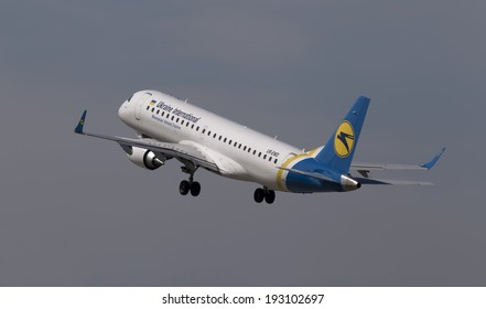 Borispol, Ukraine - May 9, 2014: Ukraine International Airlines Embraer ERJ190-100 aircraft departing from the Borispol International Airport on May 9, 2014. Editorial use only
