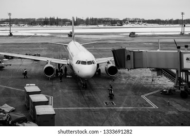 Borispol, Ukraine - May 9, 2018: Landing Air Arabia Airbus A320-214 aircraft on the runway of the Borispol International Airport on May 9, 2018.
