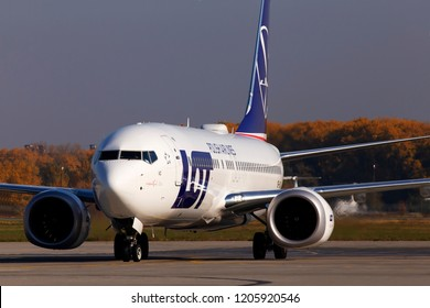 Borispol, Ukraine - October 17, 2018: SP-LVC LOT - Polish Airlines Boeing 737 MAX 8 aircraft running on the runway of Borispol International Airport
