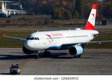 Borispol, Ukraine - October 17, 2018: OE-LBM Austrian Airlines Airbus A320-200 aircraft running to the Borispol International Airport parking