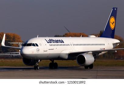 Borispol, Ukraine - October 17, 2018: D-AIUL Lufthansa Airbus A320-200 aircraft running to the Borispol International Airport parking