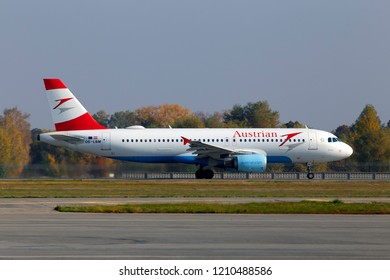 Borispol, Ukraine - October 17, 2018: Departing OE-LBM Austrian Airlines Airbus A320-200 aircraft from the Borispol International Airport