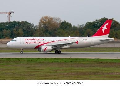 Borispol, Ukraine - October 19, 2012. A  Airbus A320 plane from the airline Air Arabia takes off in Borispol.