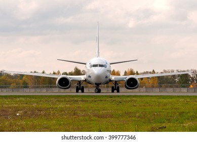 Borispol, Ukraine - October 19, 2012.  UTair Airlines Boeing 737-500 at the Boryspil airport taxiing to the runway.