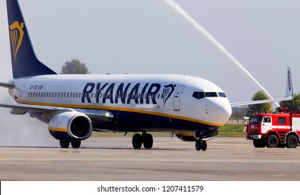Borispol, Ukraine - September 03, 2018: Meeting about the arrival of the first flight with water salute EI-FZD Ryanair Boeing 737-800 aircraft at the Borispol International Airport
