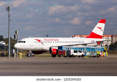 Borispol, Ukraine - September 05, 2018: OE-LDB Austrian Airlines Airbus A319-100 aircraft on the parking area