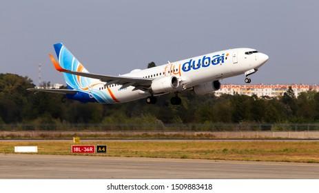 Borispol, Ukraine - September 10, 2019: A6-FEU flydubai Boeing 737-800 aircraft departing from the Borispol International Airport