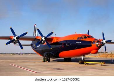 Borispol, Ukraine - September 10, 2019: UR-CSI Cavok Airlines Antonov An-12A four-engined turboprop aircraft on the parking area of Borispol International Airport