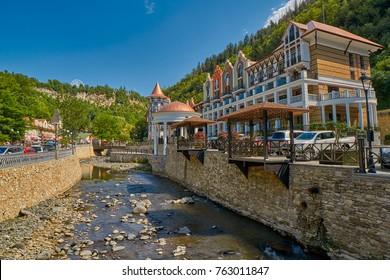 BORJOMI, GEORGIA - 07 AUGUST 2017: Luxurious Crowne Plaza hotel in famous resort town of Borjomi