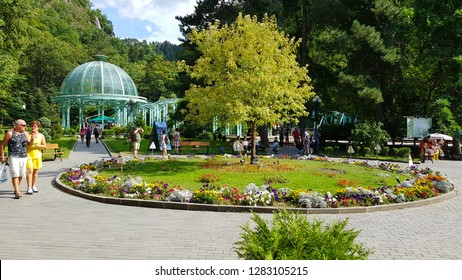 Borjomi, Georgia - August, 2018. Gardens and art nouveau kiosk in the spa town of Borjomi, Georgia