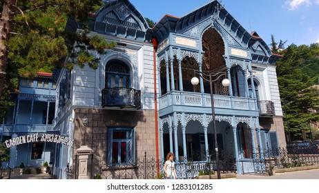 Borjomi, Georgia - August, 2018. Typical Art Nouveau house in the spa town of Borjomi in Georgia