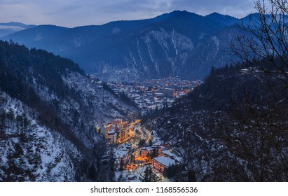 Borjomi from the height of the nearby mountains in winter.Georgia