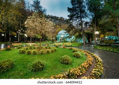 Borjomi, Samtskhe-Javakheti, Georgia. Hot Spring Of Borjomi Mineral Water In Pavilion. Famous Local Landmark Is City Park At Autumn October Evening.