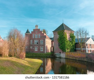 Borken, NRW / Germany - 16 February, 2019 - Outbuilding of the moated castle in Gemen.