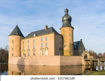 Borken, NRW / Germany - 16 February, 2019 - The water castle Gemen stands in Münsterland. The castle originated from the reconstruction of a more than 900 years old moated castle.