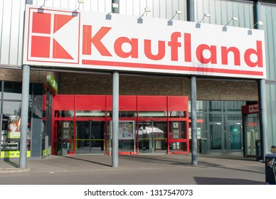 Borken, NRW / Germany - February 17, 2019: Kaufland entrance area from the Kuhm shopping center