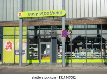 Borken, NRW / Germany - February 17, 2019: easy pharmacy at the Kuhm shopping center. Text pharmacy in german