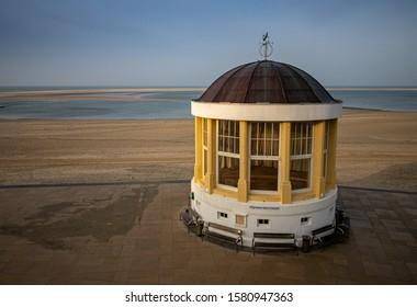borkum beach promenade with famous pavillon
