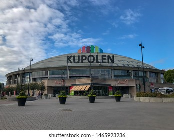 BORLANGE, SWEDEN - JULY 22,  2019:  Kupolen shopping center in Borlänge Dalarna, Sweden.  With beautiful flowers. Summertime.