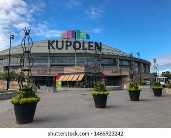 BORLANGE, SWEDEN - JULY 22,  2019:  Kupolen shopping mall in Borlange city, Dalarna Sweden With beautiful flowers outside.  Summertime.