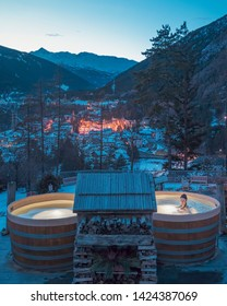 Bormio, Italy - December 21, 2017: A girl in the luxury spa of QC Terme Bagni Nuovi at night