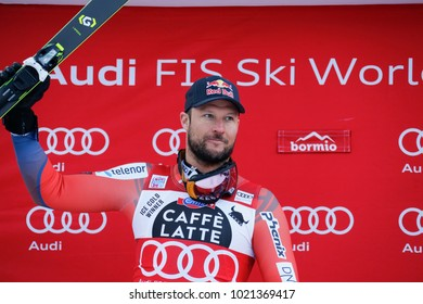 Bormio, Italy. December 28, 2017. FIS Ski World Cup 2017. Men's downhill. Aksel Lund Svindal, Norway, on the podium.