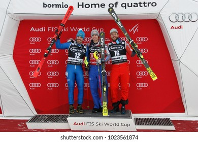 Bormio, Italy. December 29, 2017. FIS Ski World Cup 2017. Men's Alpine Combined. Podium with Alexis Pinturault, France, winner, Peter Fill, Italy, second and Kjetil Jansrud, Norway, third.