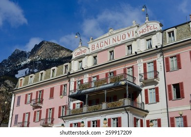 "BORMIO, ITALY - FEBRUARY 8, 2015: The luxury hotel, founded in 1836. A large outdoor luxury is available with ""therme"" and saunas for relaxation, taken in Bormio, Italy on February 8th, 2015"