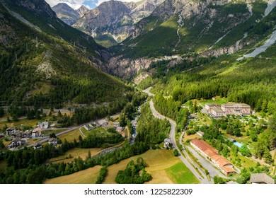 Bormio - Valdidentro - Valtellina (IT) - Bagni Nuovi and Vecchi - Panoramic aerial view