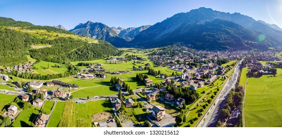 Bormio - Valtellina (IT) - Summer aerial view from the center of the valley