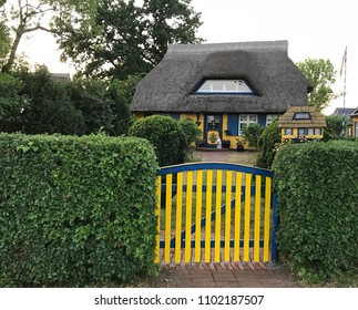 Born, Germany - May 30 2018: Traditional house with thatched roof