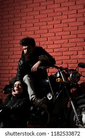 born to ride. biker couple born to ride. bearded man and sexy woman born to ride. born to ride on motorbike.
