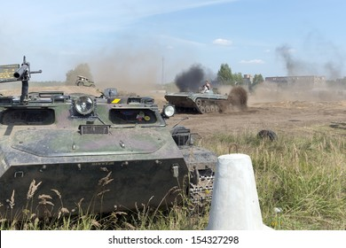 """BORNE SULIMOWO, POLAND - AUGUST 16: Driving on a military range during """"X International meeting of military vehicles  TRACKS AND HORSESHOE""""  in Borne Sulinowo, Poland on August 16, 2013"""