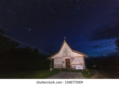 Borneo / Indonesia - April 4, 2013 : The Catholic Church of the Dayak Punan in Aidu has a star and night sky background. Most Punan Dayaks adhere to Catholicism.