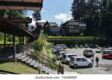 BORNEO, MALAYSIA - AUGUST 30 2016: The entrance to Kinabalu park in Malaysia near Kota Kinabalu town