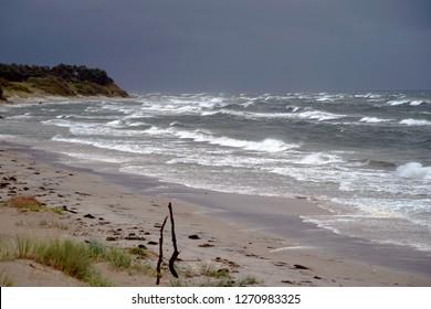Bornholm beach hit by waves