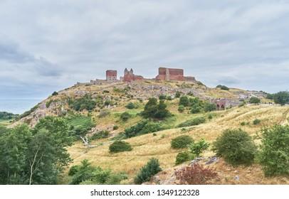 BORNHOLM DENMARK, July 09, 2018 Hammershus, View on Northern Europe's largest castle ruin (Danish island of Bornholm)