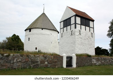 Bornholm. June-04-2012. Nylars church and freestanding tower from 1250 on the island Bornholm