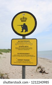 Bornholm.June-12-2012. Signboard of the military training on the island Bornholm. Denmark