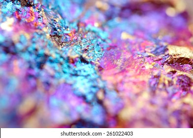 Bornite, also known as peacock ore, is a sulfide mineral with chemical composition Cu5FeS4 that crystallizes in the orthorhombic system (pseudo-cubic). Macro. Background for successful Your projects
