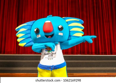 Borobi the famous blue koala mascot for the Commonwealth Games 2018 on the Gold Coast, Australia doing the Usain Bolt.