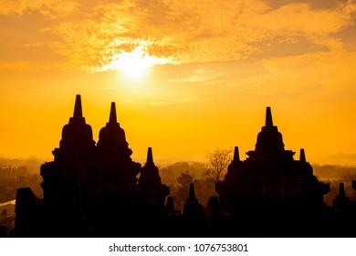 Borobudur Buddhist Temple,Yogyakarta,Indonesia- more than 400 Buddhas and 72 bell shaped stupas; the world's largestBuddhist monument