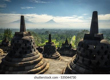 Borobudur Buddhist Temple (UNESCO World Heritage Site) - Java, Indonesia