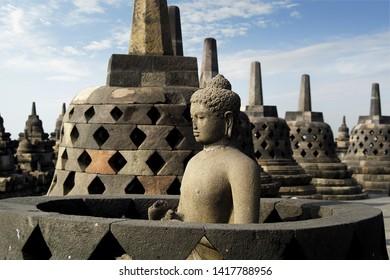 BOROBUDUR HISTORICAL PARK, NEAR JOGJAKARTA IN JAVA ISLAND-INDONESIA