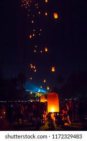 BOROBUDUR, May 29th 2018: Many people participating at lantern festival in Borobudur Temple; celebrating Waisak, a holiday in Buddhists belief