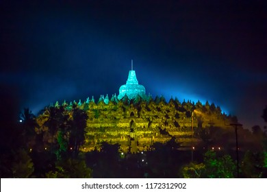 BOROBUDUR, May 29th 2018: Borobudur Temple. The world's biggest landmark of Buddhism. Photographed at the evening of Vesak, Buddhists people holiday