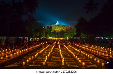 BOROBUDUR, May 29th 2018: Thousands of candles lit as a part of Vesak Day celebration at Borobudur Temple, Indonesia