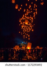 BOROBUDUR, May 29th 2018: Thousands flying lanterns glowing up the night sky of Borobudur Temple, Indonesia